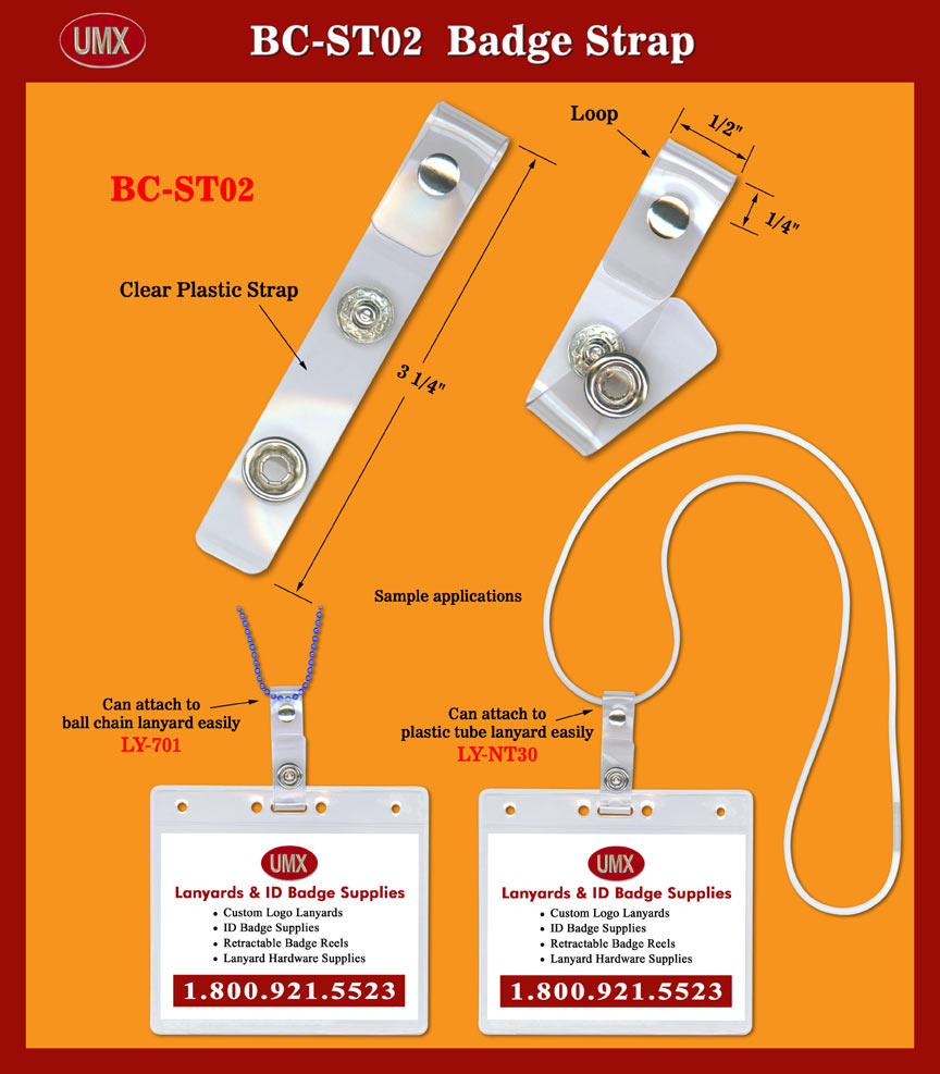 da1729088e81 Name Tag Holder Straps with Metal Riveted Loops for Round Cord, Ball ...