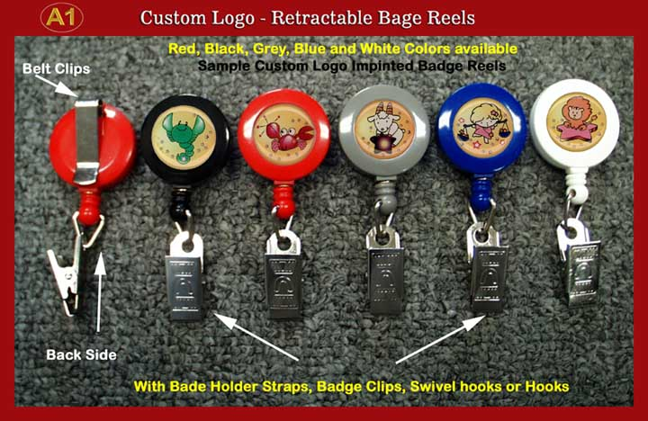 A1 Custom Logo Retractable Reels with Badge Clips for Name Badge holders or ID Card