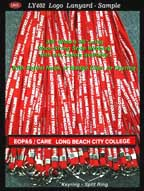 long beach city college - 3/8 inch custom logo lanyard with keyring