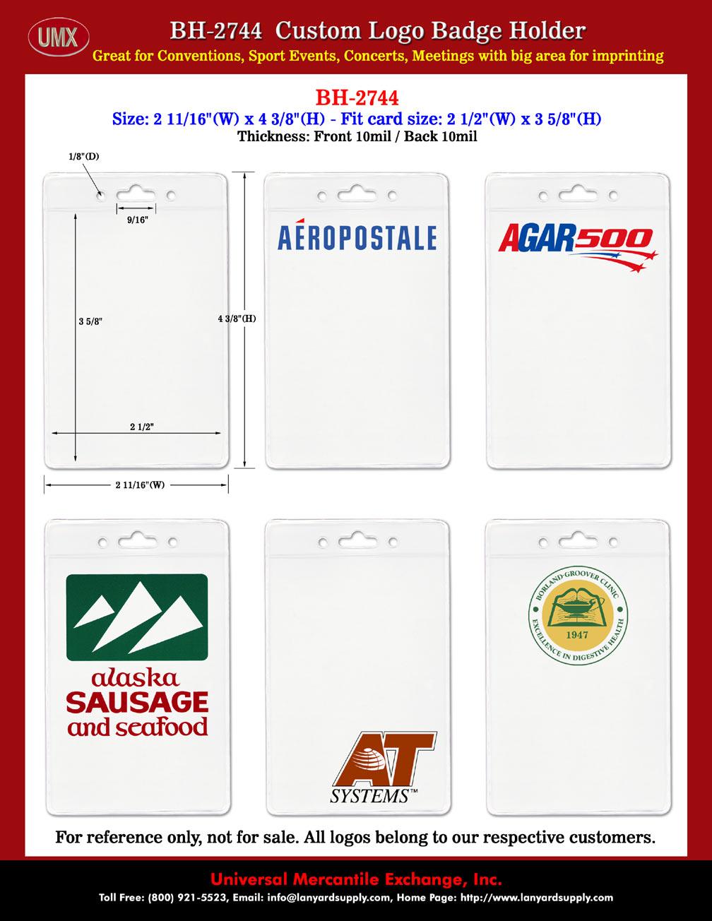 Corporate Logo Printed Name Badge Holder: Credit Card Size